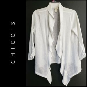 Chicos Woman Open Front Knit Cardigan Size 0 White
